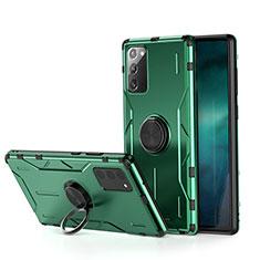 Silikon Hülle Handyhülle und Kunststoff Schutzhülle Tasche mit Magnetisch Fingerring Ständer R01 für Samsung Galaxy Note 20 5G Grün
