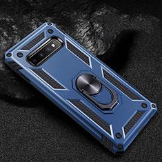 Silikon Hülle Handyhülle und Kunststoff Schutzhülle Tasche mit Magnetisch Fingerring Ständer R01 für Samsung Galaxy S10 5G Blau