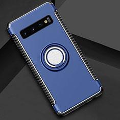 Silikon Hülle Handyhülle und Kunststoff Schutzhülle Tasche mit Magnetisch Fingerring Ständer R01 für Samsung Galaxy S10 Plus Blau
