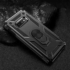 Silikon Hülle Handyhülle und Kunststoff Schutzhülle Tasche mit Magnetisch Fingerring Ständer R01 für Samsung Galaxy S10e Schwarz