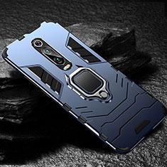 Silikon Hülle Handyhülle und Kunststoff Schutzhülle Tasche mit Magnetisch Fingerring Ständer R01 für Xiaomi Mi 9T Pro Blau
