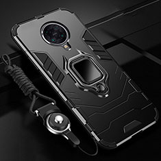 Silikon Hülle Handyhülle und Kunststoff Schutzhülle Tasche mit Magnetisch Fingerring Ständer R01 für Xiaomi Poco F2 Pro Schwarz