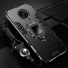 Silikon Hülle Handyhülle und Kunststoff Schutzhülle Tasche mit Magnetisch Fingerring Ständer R01 für Xiaomi Redmi K30 Pro 5G Schwarz
