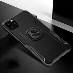 Silikon Hülle Handyhülle und Kunststoff Schutzhülle Tasche mit Magnetisch Fingerring Ständer R02 für Apple iPhone 11 Pro Max Schwarz