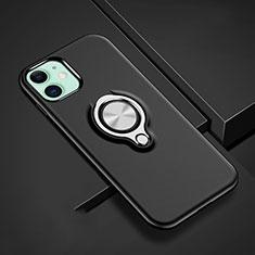 Silikon Hülle Handyhülle und Kunststoff Schutzhülle Tasche mit Magnetisch Fingerring Ständer R02 für Apple iPhone 11 Schwarz