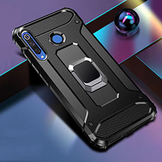 Silikon Hülle Handyhülle und Kunststoff Schutzhülle Tasche mit Magnetisch Fingerring Ständer R02 für Huawei Nova 4e Schwarz
