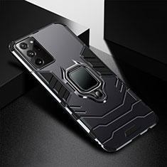 Silikon Hülle Handyhülle und Kunststoff Schutzhülle Tasche mit Magnetisch Fingerring Ständer R02 für Samsung Galaxy Note 20 Ultra 5G Schwarz