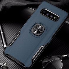Silikon Hülle Handyhülle und Kunststoff Schutzhülle Tasche mit Magnetisch Fingerring Ständer R02 für Samsung Galaxy S10 Blau