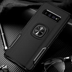 Silikon Hülle Handyhülle und Kunststoff Schutzhülle Tasche mit Magnetisch Fingerring Ständer R02 für Samsung Galaxy S10 Plus Schwarz