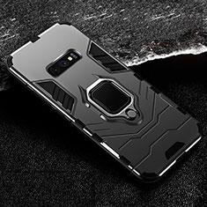 Silikon Hülle Handyhülle und Kunststoff Schutzhülle Tasche mit Magnetisch Fingerring Ständer R02 für Samsung Galaxy S10e Schwarz
