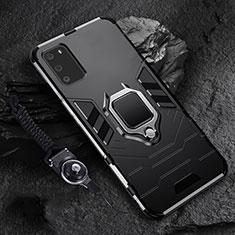 Silikon Hülle Handyhülle und Kunststoff Schutzhülle Tasche mit Magnetisch Fingerring Ständer R02 für Samsung Galaxy S20 5G Schwarz