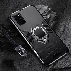 Silikon Hülle Handyhülle und Kunststoff Schutzhülle Tasche mit Magnetisch Fingerring Ständer R02 für Samsung Galaxy S20 Plus Schwarz