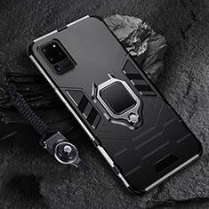 Silikon Hülle Handyhülle und Kunststoff Schutzhülle Tasche mit Magnetisch Fingerring Ständer R02 für Samsung Galaxy S20 Ultra 5G Schwarz