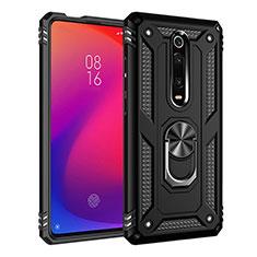Silikon Hülle Handyhülle und Kunststoff Schutzhülle Tasche mit Magnetisch Fingerring Ständer R02 für Xiaomi Mi 9T Pro Schwarz