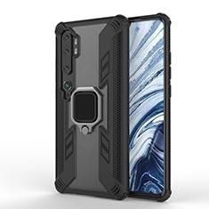Silikon Hülle Handyhülle und Kunststoff Schutzhülle Tasche mit Magnetisch Fingerring Ständer R02 für Xiaomi Mi Note 10 Schwarz