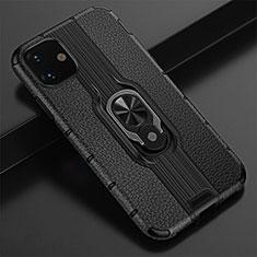 Silikon Hülle Handyhülle und Kunststoff Schutzhülle Tasche mit Magnetisch Fingerring Ständer R03 für Apple iPhone 11 Schwarz