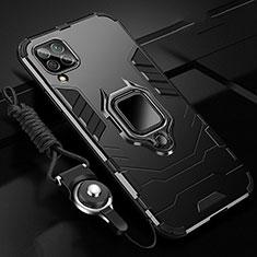Silikon Hülle Handyhülle und Kunststoff Schutzhülle Tasche mit Magnetisch Fingerring Ständer R03 für Huawei P40 Lite Schwarz
