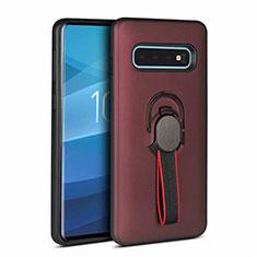 Silikon Hülle Handyhülle und Kunststoff Schutzhülle Tasche mit Magnetisch Fingerring Ständer R03 für Samsung Galaxy S10 5G Braun