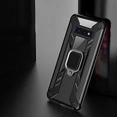Silikon Hülle Handyhülle und Kunststoff Schutzhülle Tasche mit Magnetisch Fingerring Ständer R03 für Samsung Galaxy S10e Schwarz