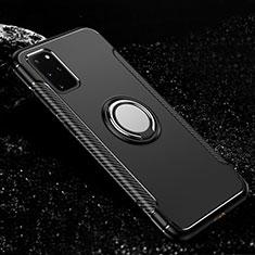 Silikon Hülle Handyhülle und Kunststoff Schutzhülle Tasche mit Magnetisch Fingerring Ständer R03 für Samsung Galaxy S20 Plus Schwarz