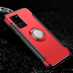 Silikon Hülle Handyhülle und Kunststoff Schutzhülle Tasche mit Magnetisch Fingerring Ständer R03 für Samsung Galaxy S20 Ultra 5G Rot
