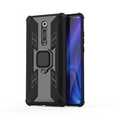 Silikon Hülle Handyhülle und Kunststoff Schutzhülle Tasche mit Magnetisch Fingerring Ständer R03 für Xiaomi Mi 9T Pro Schwarz