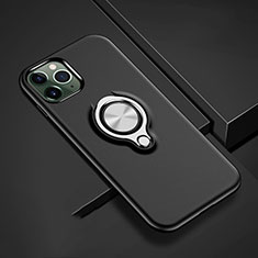 Silikon Hülle Handyhülle und Kunststoff Schutzhülle Tasche mit Magnetisch Fingerring Ständer R04 für Apple iPhone 11 Pro Max Schwarz