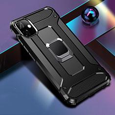 Silikon Hülle Handyhülle und Kunststoff Schutzhülle Tasche mit Magnetisch Fingerring Ständer R04 für Apple iPhone 11 Schwarz
