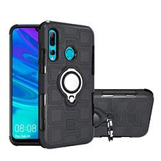 Silikon Hülle Handyhülle und Kunststoff Schutzhülle Tasche mit Magnetisch Fingerring Ständer R04 für Huawei Honor 20i Schwarz
