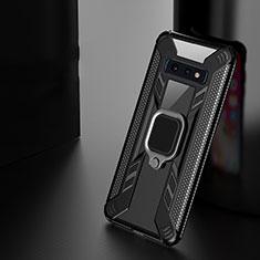 Silikon Hülle Handyhülle und Kunststoff Schutzhülle Tasche mit Magnetisch Fingerring Ständer R04 für Samsung Galaxy S10 Plus Schwarz