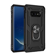 Silikon Hülle Handyhülle und Kunststoff Schutzhülle Tasche mit Magnetisch Fingerring Ständer R04 für Samsung Galaxy S10e Schwarz
