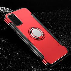 Silikon Hülle Handyhülle und Kunststoff Schutzhülle Tasche mit Magnetisch Fingerring Ständer R04 für Samsung Galaxy S20 5G Rot