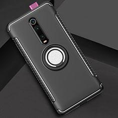 Silikon Hülle Handyhülle und Kunststoff Schutzhülle Tasche mit Magnetisch Fingerring Ständer R04 für Xiaomi Mi 9T Pro Schwarz