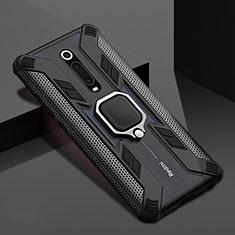 Silikon Hülle Handyhülle und Kunststoff Schutzhülle Tasche mit Magnetisch Fingerring Ständer R05 für Xiaomi Mi 9T Pro Schwarz