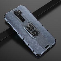Silikon Hülle Handyhülle und Kunststoff Schutzhülle Tasche mit Magnetisch Fingerring Ständer R05 für Xiaomi Redmi Note 8 Pro Blau