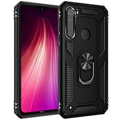 Silikon Hülle Handyhülle und Kunststoff Schutzhülle Tasche mit Magnetisch Fingerring Ständer R05 für Xiaomi Redmi Note 8T Schwarz