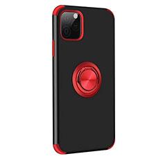 Silikon Hülle Handyhülle und Kunststoff Schutzhülle Tasche mit Magnetisch Fingerring Ständer R06 für Apple iPhone 11 Pro Max Rot und Schwarz