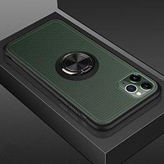 Silikon Hülle Handyhülle und Kunststoff Schutzhülle Tasche mit Magnetisch Fingerring Ständer R07 für Apple iPhone 11 Pro Max Schwarz