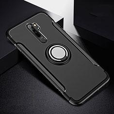 Silikon Hülle Handyhülle und Kunststoff Schutzhülle Tasche mit Magnetisch Fingerring Ständer R08 für Xiaomi Redmi Note 8 Pro Schwarz