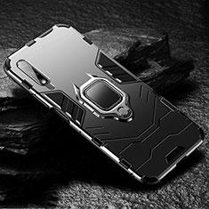 Silikon Hülle Handyhülle und Kunststoff Schutzhülle Tasche mit Magnetisch Fingerring Ständer S01 für Huawei Honor 9X Schwarz