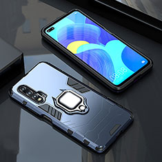 Silikon Hülle Handyhülle und Kunststoff Schutzhülle Tasche mit Magnetisch Fingerring Ständer S01 für Huawei Nova 6 5G Blau