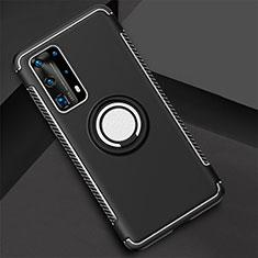 Silikon Hülle Handyhülle und Kunststoff Schutzhülle Tasche mit Magnetisch Fingerring Ständer S01 für Huawei P40 Pro+ Plus Schwarz