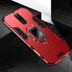 Silikon Hülle Handyhülle und Kunststoff Schutzhülle Tasche mit Magnetisch Fingerring Ständer S01 für Xiaomi Redmi 8 Rot
