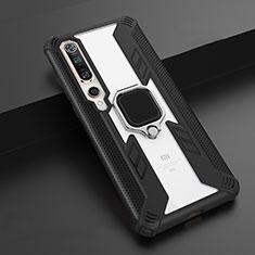 Silikon Hülle Handyhülle und Kunststoff Schutzhülle Tasche mit Magnetisch Fingerring Ständer S02 für Xiaomi Mi 10 Pro Schwarz