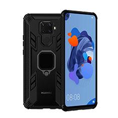 Silikon Hülle Handyhülle und Kunststoff Schutzhülle Tasche mit Magnetisch Fingerring Ständer S03 für Huawei Mate 30 Lite Schwarz
