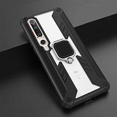 Silikon Hülle Handyhülle und Kunststoff Schutzhülle Tasche mit Magnetisch Fingerring Ständer S03 für Xiaomi Mi 10 Schwarz