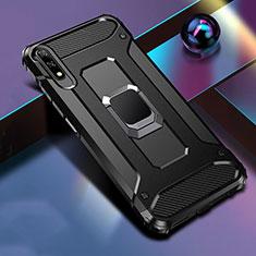 Silikon Hülle Handyhülle und Kunststoff Schutzhülle Tasche mit Magnetisch Fingerring Ständer S04 für Huawei Honor 9X Schwarz