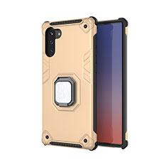 Silikon Hülle Handyhülle und Kunststoff Schutzhülle Tasche mit Magnetisch Fingerring Ständer T01 für Samsung Galaxy Note 10 Gold