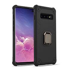 Silikon Hülle Handyhülle und Kunststoff Schutzhülle Tasche mit Magnetisch Fingerring Ständer T01 für Samsung Galaxy S10 Plus Schwarz