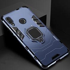 Silikon Hülle Handyhülle und Kunststoff Schutzhülle Tasche mit Magnetisch Fingerring Ständer Z01 für Xiaomi Redmi 7 Blau
